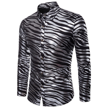 fashion casual shirts men 2019 autumn winter zebra stripes print dress for long sleeve
