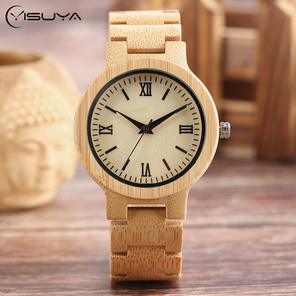 Nature Bamboo Wooden Wrist Watch Men Sport Casual Timber Quartz Mens Watches Fold Clasp Wood Band Roma Bangle Clock luxury top brand full wooden watches handmade nature wood hollow wrist watch women men fold clasp creative casual bamboo gifts