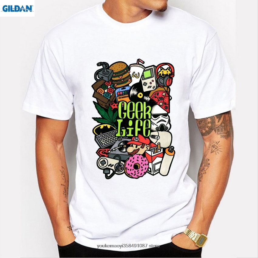GILDAN New mens t shirt fashion Geek Video Game Nostalgic Print tee shirts men camisetas funny t-shirt short sleeve tops