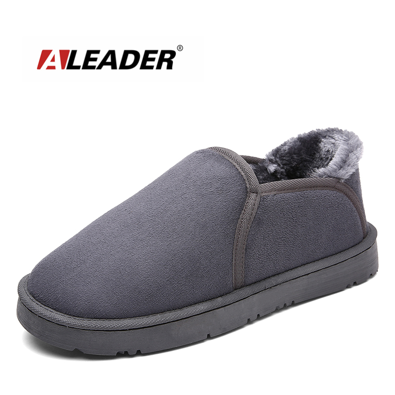 ALEADER Winter  Slip On Warm Slippers Women House Walking Shoes Fur Unisex Bedroom Moccasins Indoor Suede Leather Fuzzy Slippers uexia winter women flats warm fur plush comfort cotton shoes woman loafers slip on cute indoor warm furry comfortable moccasins