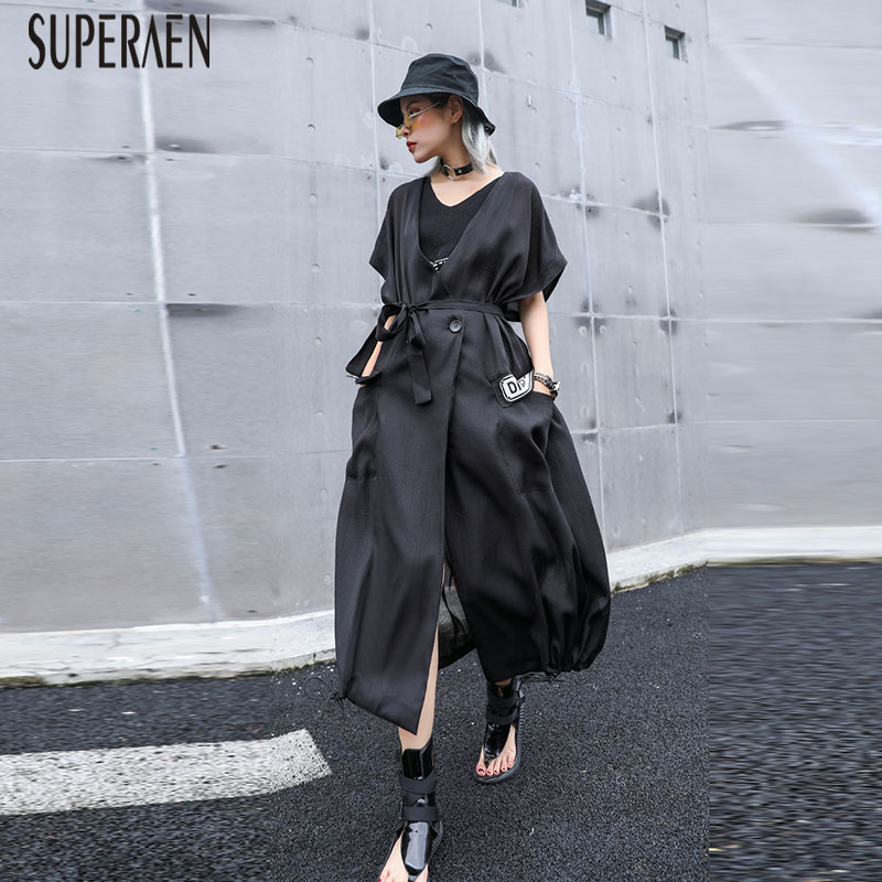 SuperAen Fashion Sunscreen Female 2019 New Summer Cotton Wild Casual   Trench   Coat for Women Drawstring Europe Windbreaker