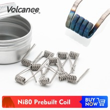 Volcanee 50/100pcs Ni80 Premade Coil Prebuilt Alien V2 Framed Staple Fused Clapton Heating Coil for Merlin Mini King RTA Vape