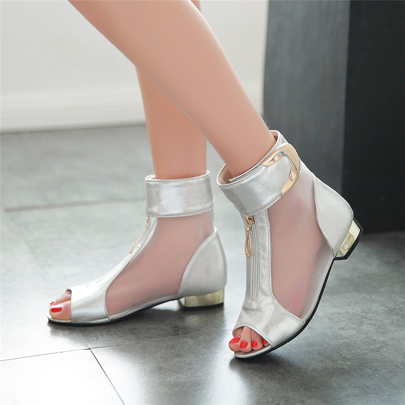 Rimocy 2018 Summer Women Sexy Mesh Sandals Metal Decoration Peep Toe Low Heels Shoes Woman Fashion Party Sandals Big Size 33-46 weiqiaona new big size 33 43 fashion women shoes sexy lace ladies sandals mesh stiletto peep toe hollow high heel shoes woman