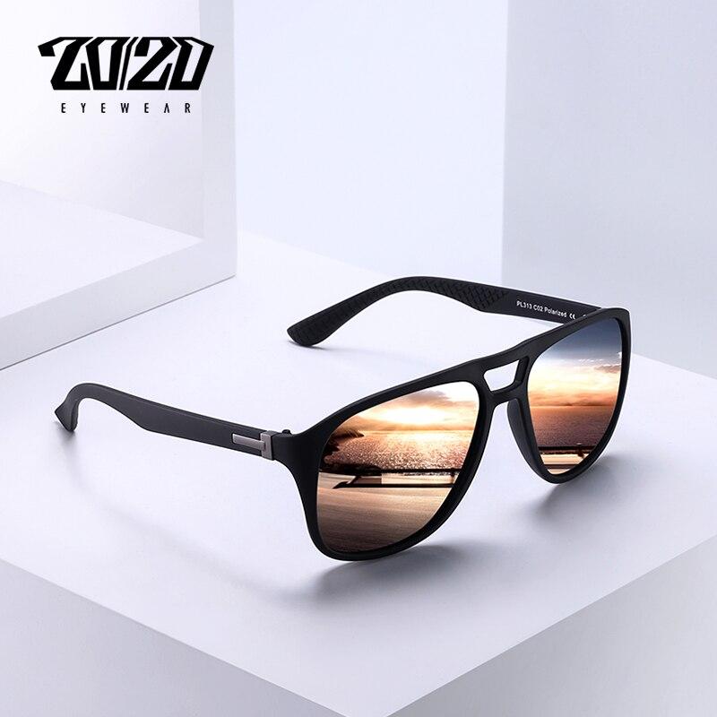 20/20 Brand Vintage Retro Polarized Sunglasses Men Coating Black Driving Sun Glasses Square Eyewear Male Goggles PL313