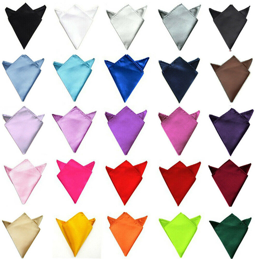 Men High Quality Plain Satin Party Wedding Pocket Square Hanky Handkerchief NEW YYTIE0505