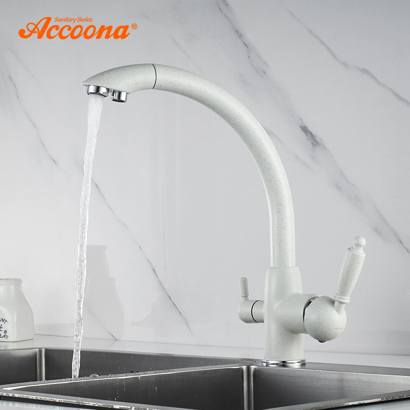 Accoona New Arrival Kitchen Faucet 360 Degree Rotation With Water Purification Features Cold And Hot Kitchen Faucets A5179-7