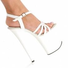 Marca Negro mujeres sandalias 20 CM Súper Altos zapatos de plataforma sexy zapatos de tacón alto de las mujeres Zapatos de Baile