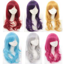 цена на 70cm High Quality Anime Long Wavy Cosplay Wig With Bangs Heat Resistant Synthetic Hair Black Pink Silver Blue Green Woman Wigs