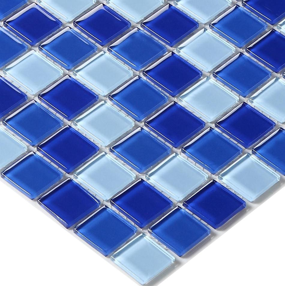 blue color crystal glass mosaic tiles HMGM2007A for swimming pool ...
