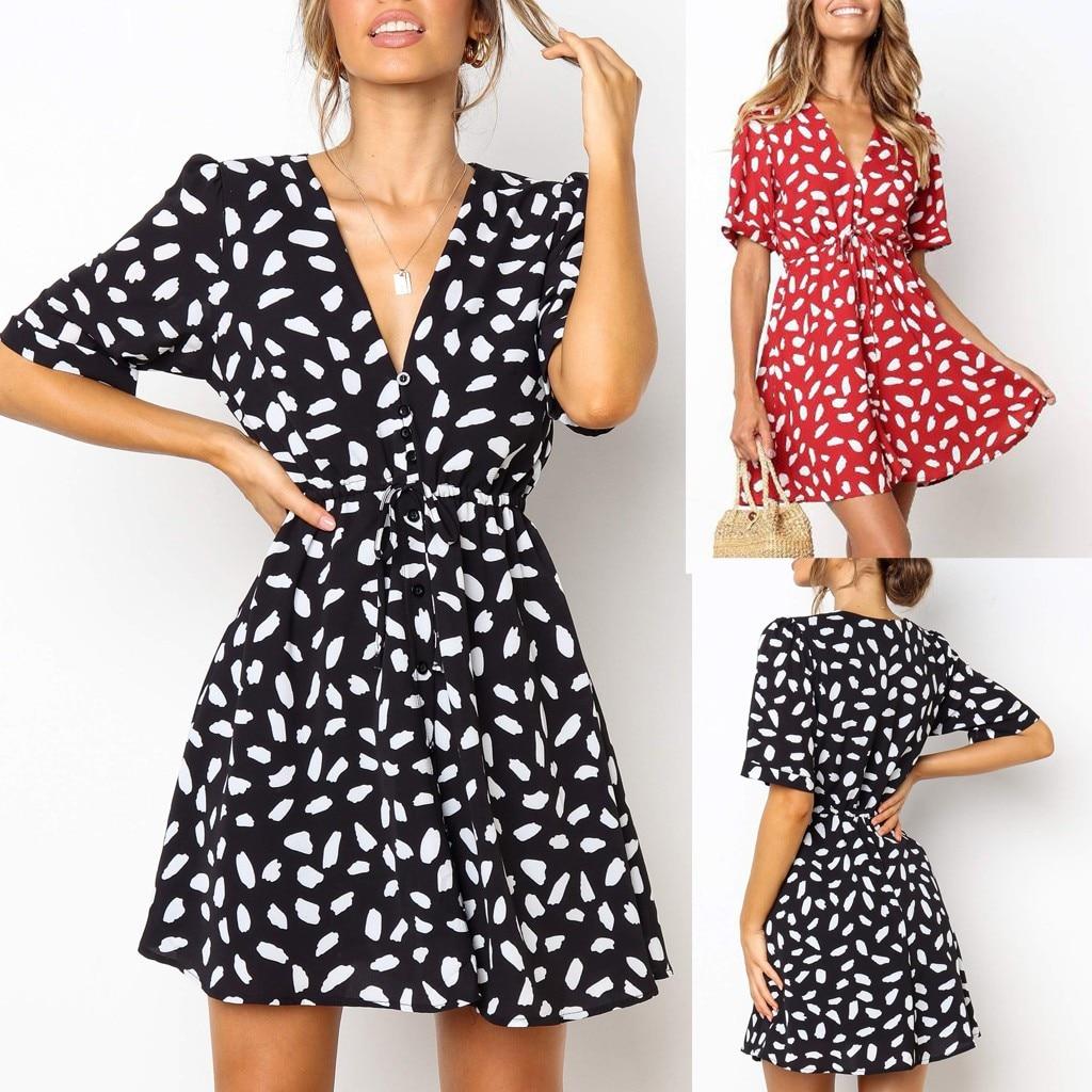 HTB1kZuEOCzqK1RjSZFpq6ykSXXav Short Sleeve dress woman basic Printing V-neck casual dress flare Button Summer Dress Princess Dress vestidos #G6