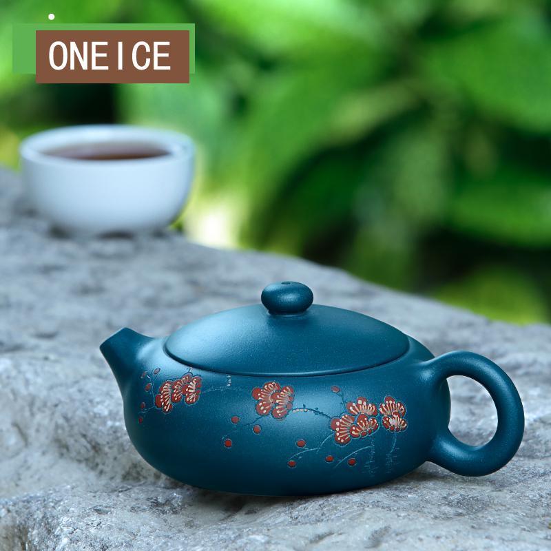 ييشينغ إبريق الشاي الشهيرة نقية أصيلة اليدوية الأخضر Muds يوم واضح الطين شقة شى شى 170cc 9 حفرة أقداح الشاي الصينية Gongfu التي الشاي-في اباريق الشاي من المنزل والحديقة على  مجموعة 2