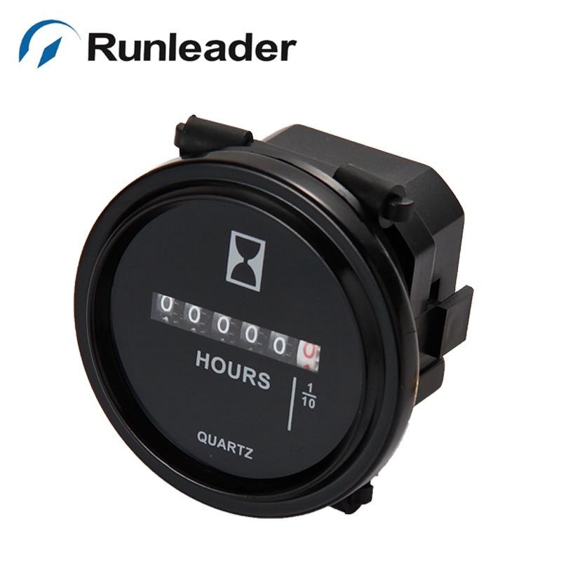 Runleader HM009 DC 2 Quartz Round Mechanical Hour Meter Used For Diesel Engine Generator Boat Tractor