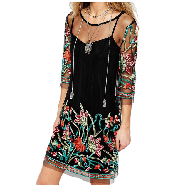 771c1ee7349 Summer Dress Boho Women Floral Embroidery Lace Mesh Dress 3 4 Sleeve Mini  Dresses Casual See Through Dresses Plus Size(BLACK)