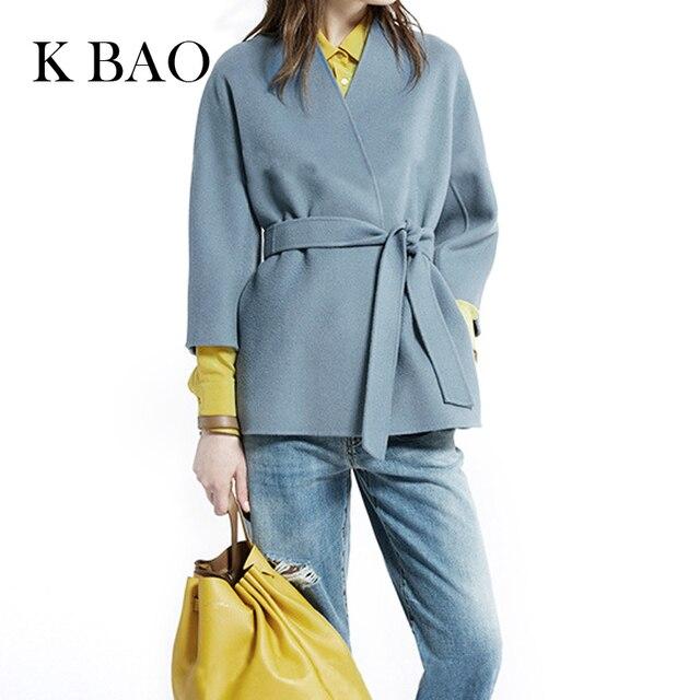 Женский пальто Высокого Количество осень и зима ручной двусторонняя кашемировые пальто женская куртка с поясом Короткое пальто