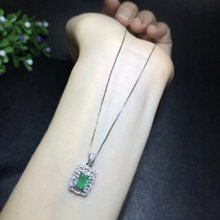 Qi Xuan_Fashion Jewelry_Colombia Green Stone Rectangle Jewelry Set_S925 Solid Silver Set_Factory Directly Sales