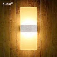 Zinuo 6 واط 12 واط أدى مصابيح الحائط الحديثة الاكريليك جدار ضوء يجلس غرفة المعيشة بهو شنت الحمام أدى الجدار الشمعدان ac220v