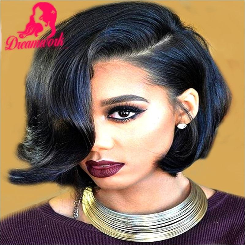 Short Wavy Bob Wigs Human Hair For Black Women Glueless