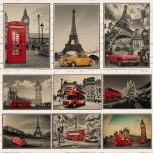 Ciudad de Londres/Torre Eiffel/calle de París/autobús/viajes pósteres Retro habitación decoración de pared pegatinas casa decoración regalo 1006