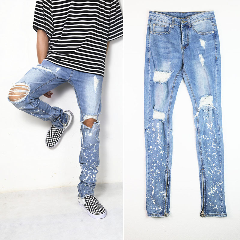 very fashion good Quality men Skinny Ripped Jeans Light Blue Destroyed Holes Ripped Zipped Straight Denim Pants Party Streetwear