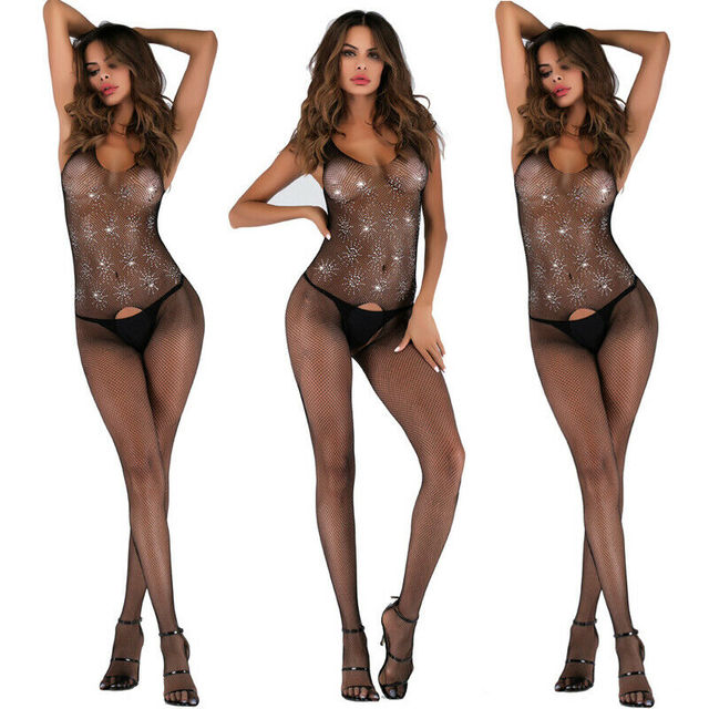 Lencería Sexy ropa de dormir mujer abrir la red de entrepierna cuerpo media Body negro Sexy ahueca hacia fuera Bodystocking sin Briefs