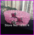 10pcs Free ship ! fashion pink crystal bead pave sideway rhinestone heart ribbon breast cancer sign charm elastic  bracelet
