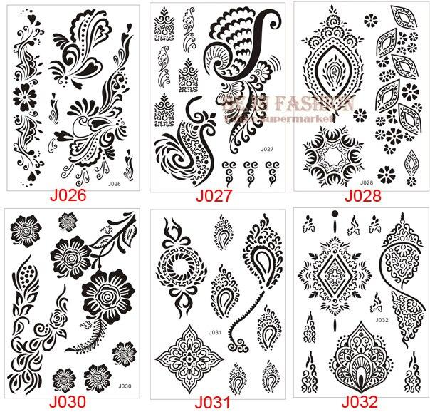 One Piece Indian Arabic Designs Lace Flash Black White Henna Tattoo