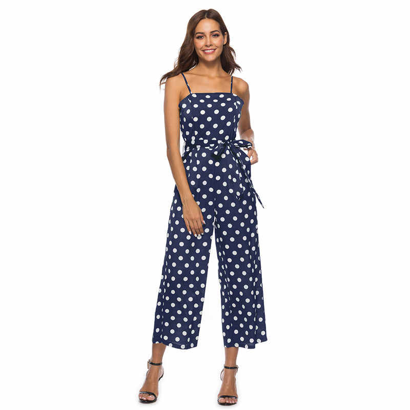 3abf56ec91 casual spaghetti strap polka dot rompers womens jumpsuit summer open back  pne piece wide leg jumpsuits plus size overall DC18627