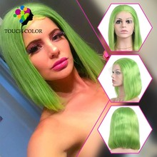 Touch Color Lime Green Human Hair Bob Wigs Pre Plucked Short Neon Green Lace Front Wig With Baby Hair Pixie Cut Wig HD Lace Wigs yookie k313 bluetooth lime green