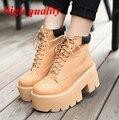 Punk zapatos mujeres botas de invierno para mujer brown botas de tacones gruesos de la plataforma botas Fasihon con cordones botines negro zapatos Y628