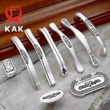 KAK, современные шлицевые ручки из твердого цинкового сплава 96 мм 128 мм, ручки для кухонного шкафа, круглые ручки для ящиков, мебельная фурнитура