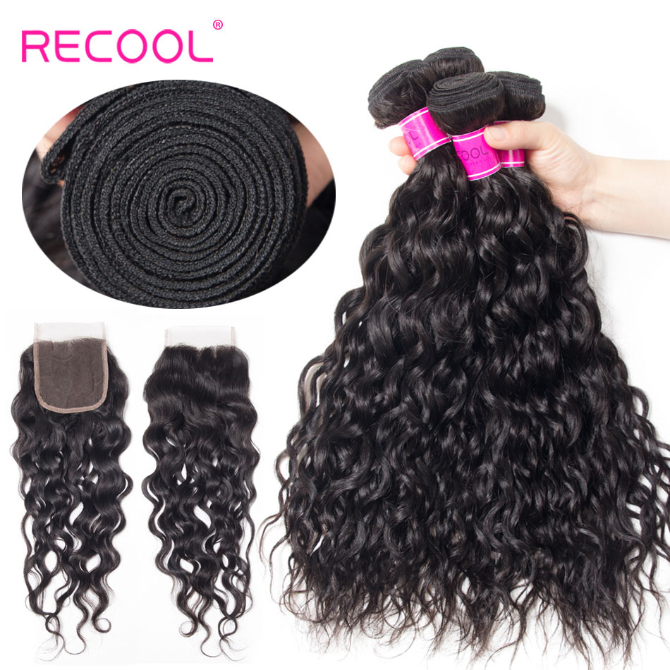 Recool Brazilian Water Wave Hair Bundles With Closure Remy Hair Weave 3 Bundle Deal With 4