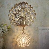 Современный Золотой Павлин настенный светильник хрустальный шар Проход Настенный светильник поверхностный Настенный бра
