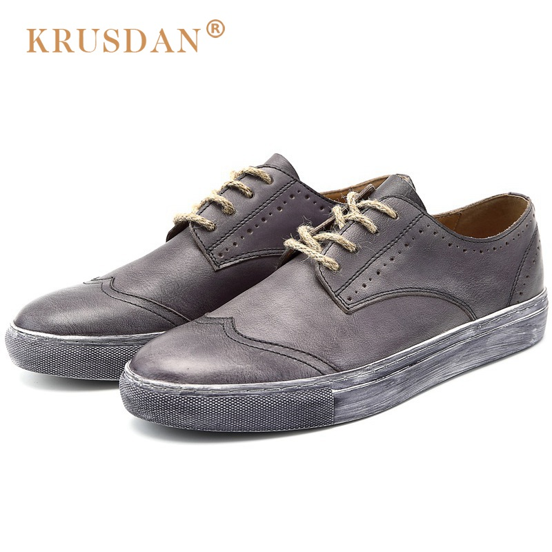 KRUSDAN New Arrival Flat Platform Man Casual Shoes Vintage Genuine Leather Round Toe Men's Handmade Comfortable Footwear OQ79