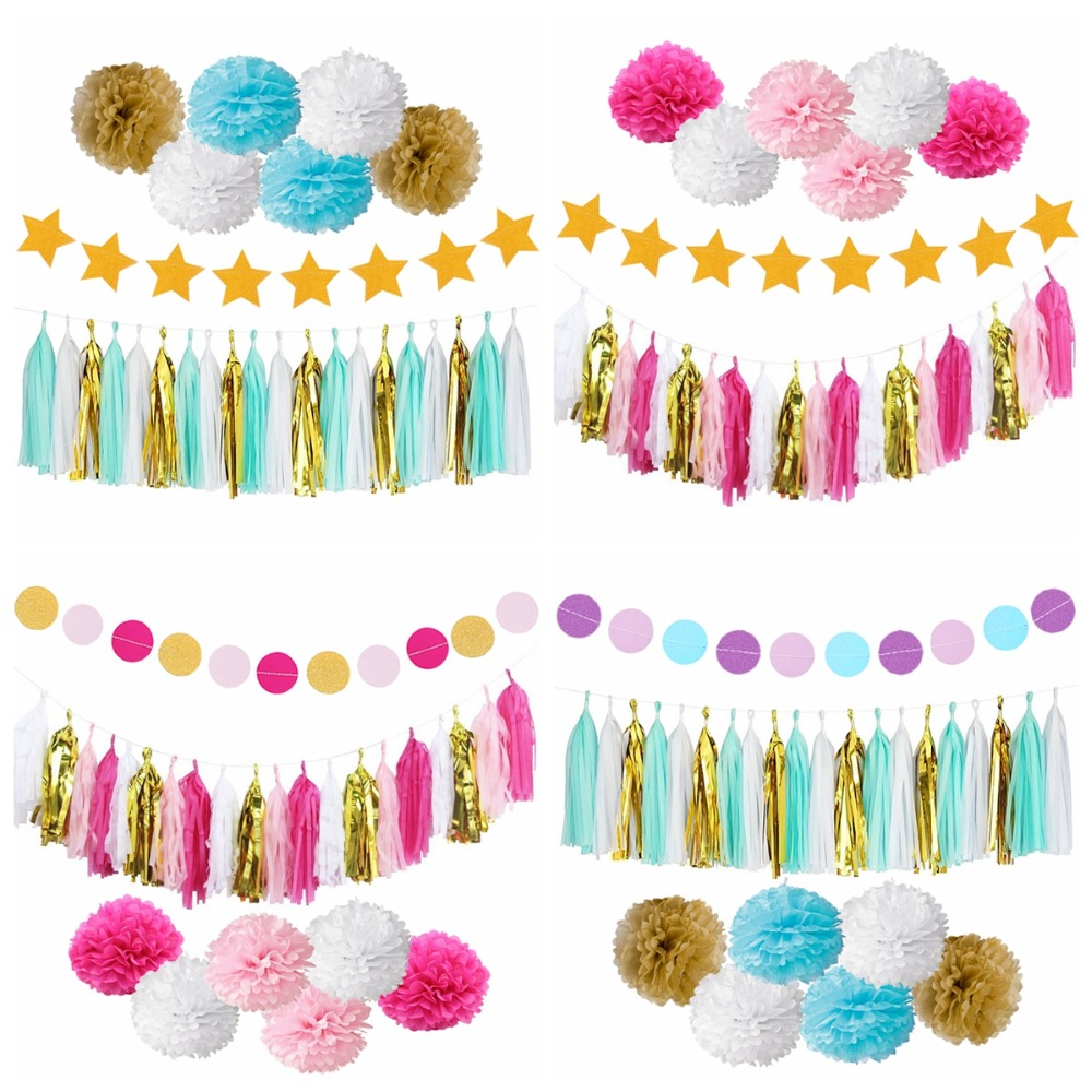 Birthday party backdrop tissue paper pom poms product on alibaba com - Aliexpress Com Buy Fengrise First Birthday Party Paper Decoration Set Happy Birthday Banner Hanging Swirls Pom Poms Boy Girl Party Favors Blue Pink From