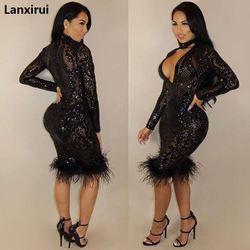 Moda czarny cekin Sukienka kobiety Party suknie Elbise odzież damska Roupa Feminina Sukienka kobieta ubrania z długim rękawem 4