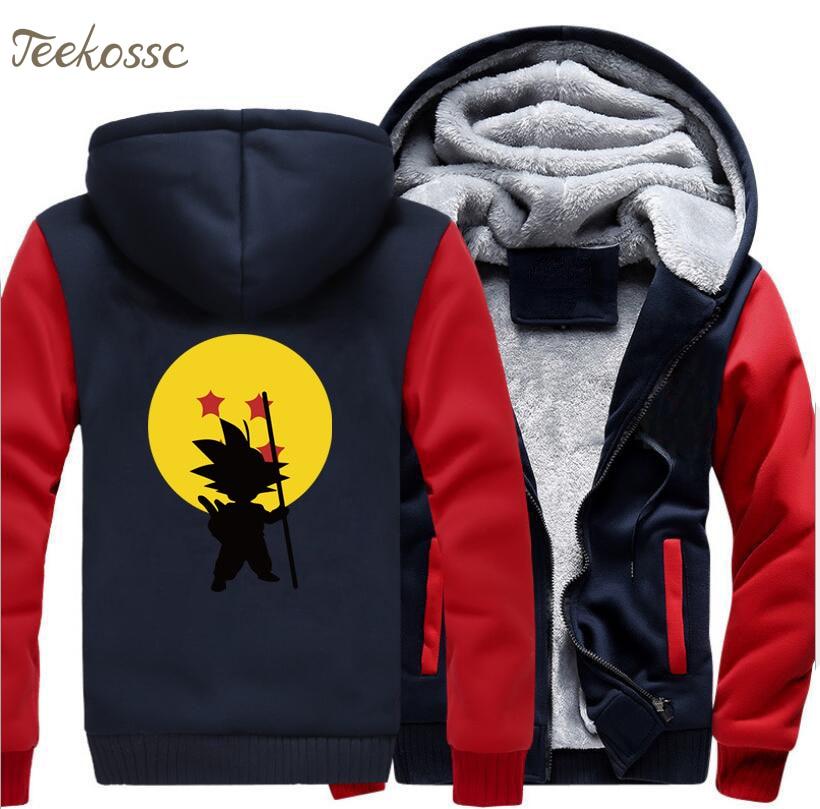 Japan Anime Hoodie Men Dragon Ball Harajuku Hooded Sweatshirt Coat 2018 Winter Fleece Thick Super Saiyan Vegeta Harajuku Jacket