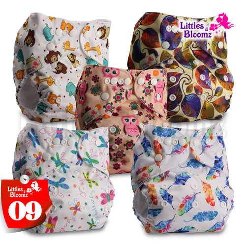 [Littles&Bloomz] 5pcs/set Baby Washable Reusable Real Cloth Pocket Nappy, 5 nappies/diapers and 5 microfiber inserts in one set