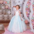 Beauty Flower Girl Dresses Vestido Longo Pageant Dresses For Girls Glitz Ball Gown Kids Prom Dress With Flower Applique Gowns