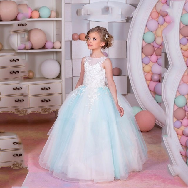 Beauty Flower Girl Dresses Vestido Longo Pageant Dresses For Girls ...