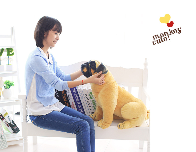 simulation dog large 55cm squatting pug plush toy doll throw pillow birthday gift 0173
