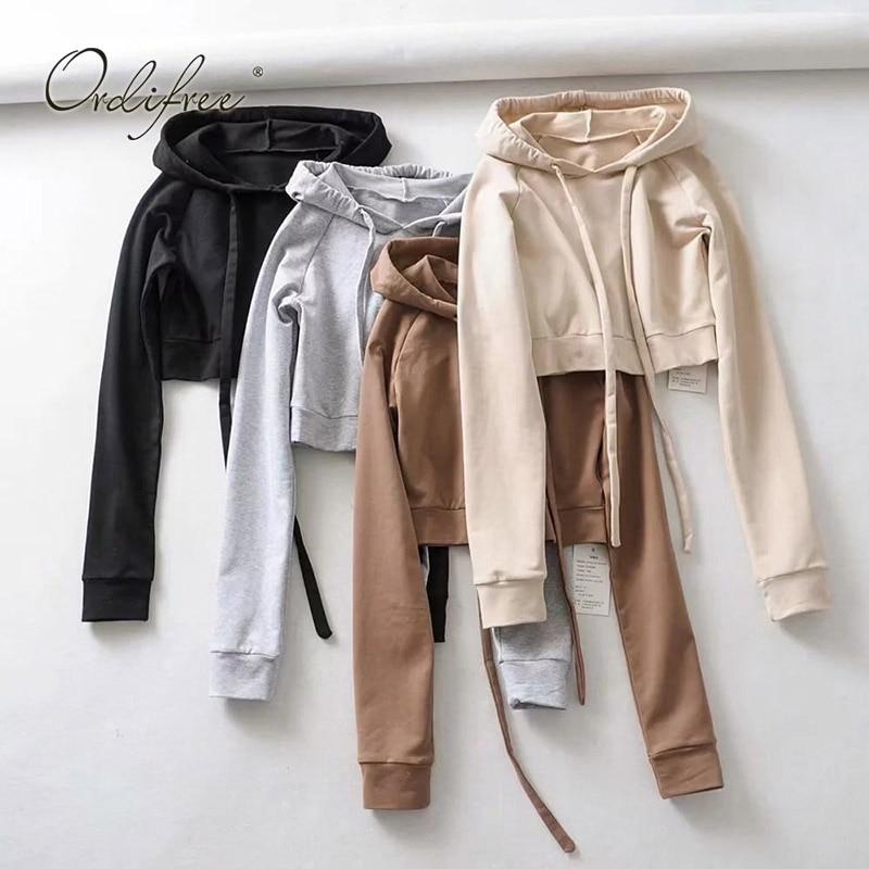 Ordifree 2018 Autumn Winter Women Hoodies And Sweatshirts Sexy Cropped Hoodie Black Short Hooded Sweatshirt