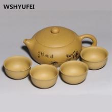 Китайский чайный набор 5 шт yixing чайник черная грязь xi shi