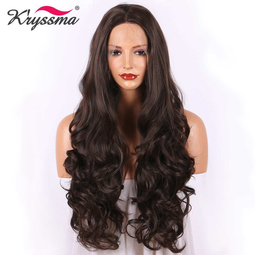 K ryssma Dark Brown Synthetic Lace Front Wig Long Wavy Chestnut Wigs for Women With Baby
