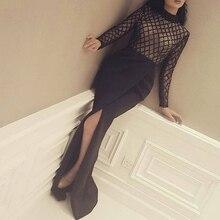 Sexy Langen Ärmeln Schwarz Abendkleider seitenschlitz Transparent High Neck Abendkleid Saudi-arabien Abendkleid Vestido De Festa