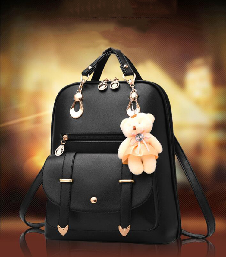 HTB1kZwNDkSWBuNjSszdq6zeSpXaI Preppy Style Women Backpack Bear Toys PU Leather Schoolbags for Teenage Girls Female Rucksack Shoulder Bag Travel Knapsack