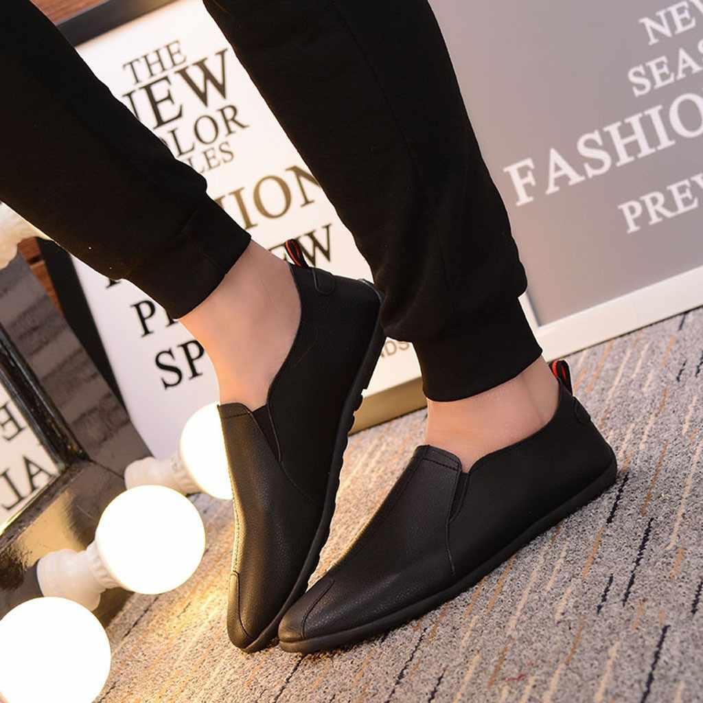 SAGACE ฤดูใบไม้ร่วงรองเท้าผู้ชายรองเท้าหนังรองเท้าสบายๆหรูหรายี่ห้อ 2019 Mens Breathable Slip บน Loafers ชายรองเท้า