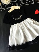 2017 Summer New Korea Style Girl Dresses Black White Lace Party Dress Princess Dress Children Clothes AA339 Not Have Necklace
