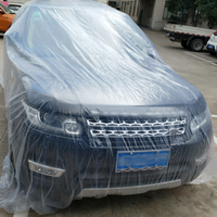 1pc Disposable car cover car can be customized waterproof easy and convenient transparent plastic spray paint|Car Covers|   -