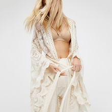 Sexy Cardigan Beach Party Elegant Dress Boho Women Solid Lace Long Beige Robes One Piece