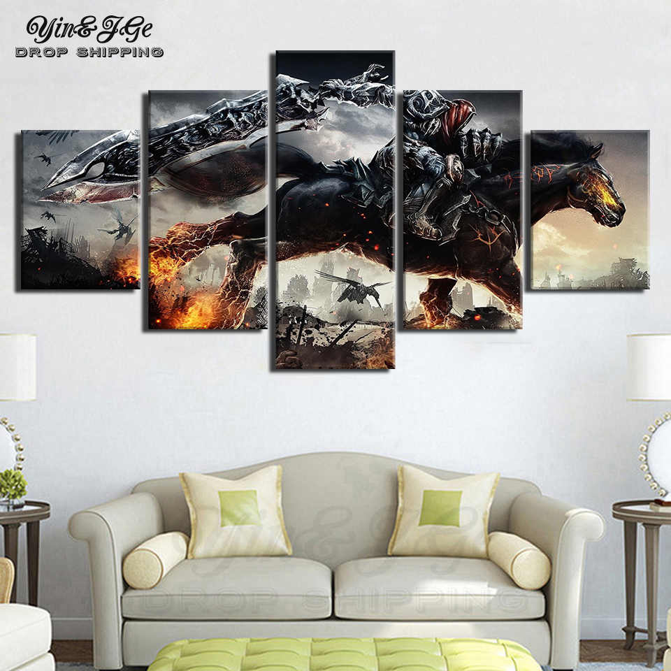 Detail Feedback Questions About Canvas Painting Wall Art HD Print 5 Piece Game Darksiders Knight Home Decor Modular For Living Room Picture Frame Artwork